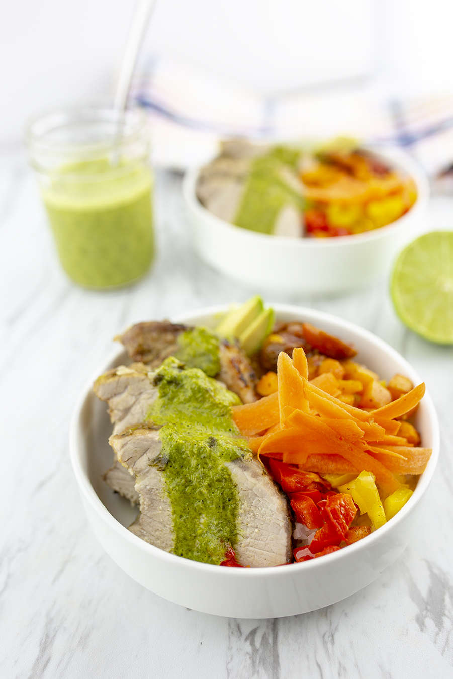 Bowl of Cilantro Lime Pork with vegetables