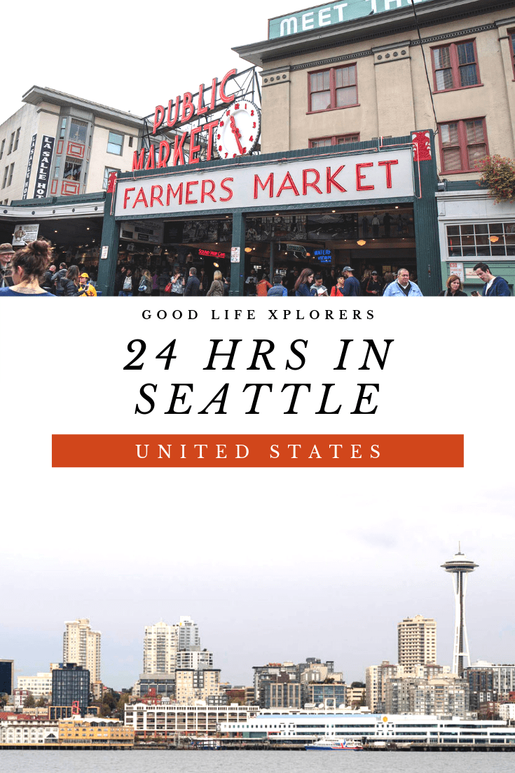Pike Place Market and skyline of Seattle from water with the Space Needle
