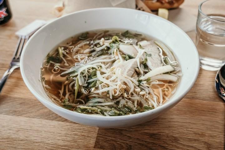 A big bowl of vietnamese pho soup