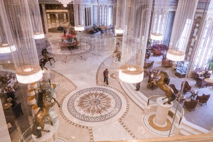 The view from above of the lobby at Ritz Carlton of Riyadh