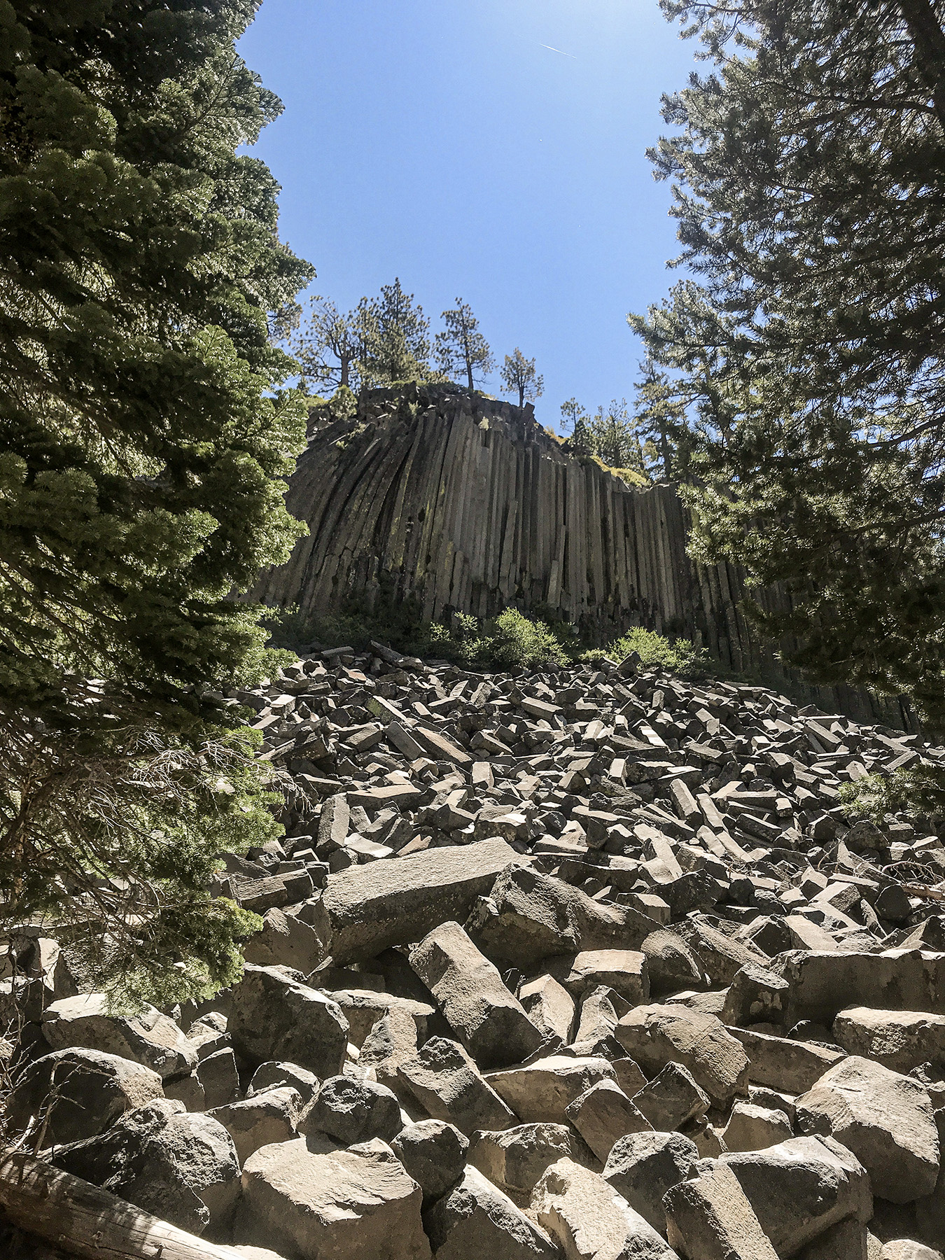 Devils Postpile National Monument in California near Mammoth Lakes. Columns made of basalt on the side of the mountain.