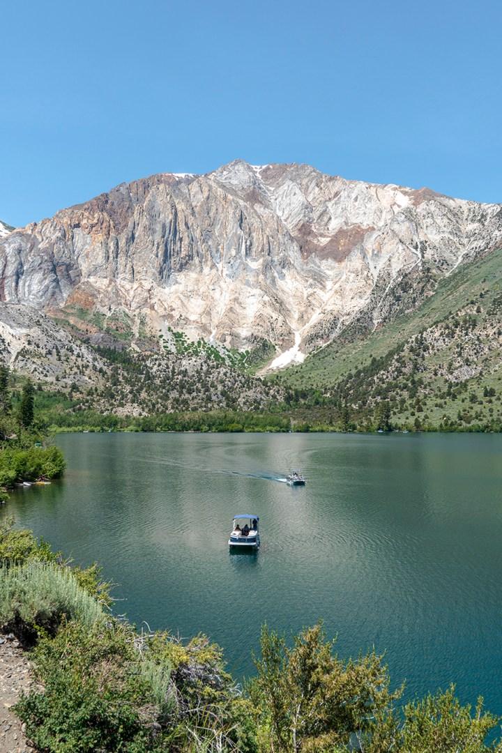 Boats at Convict Lake in California near Mammoth Lakes