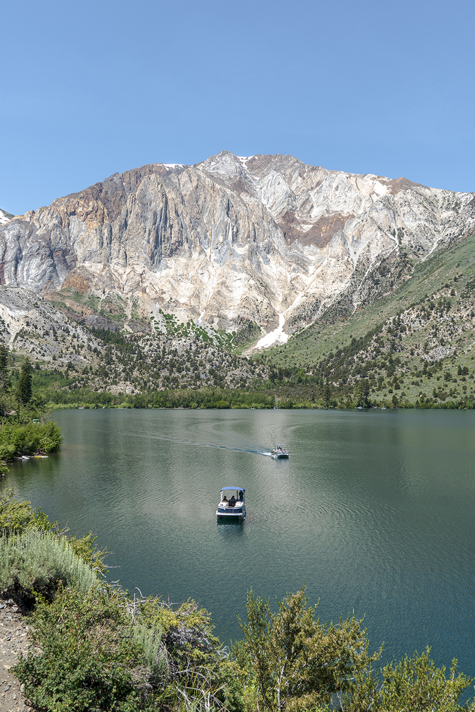 Boats at Convict Lake in California near Mammoth Lakes