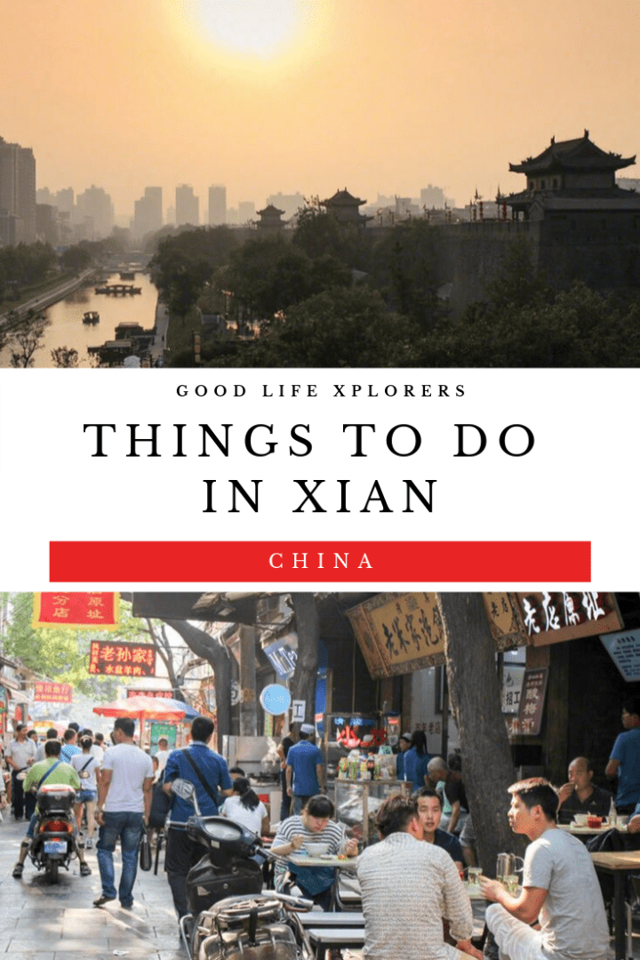 The city of Xian China at Sunset and dinners at the Muslim Quarter