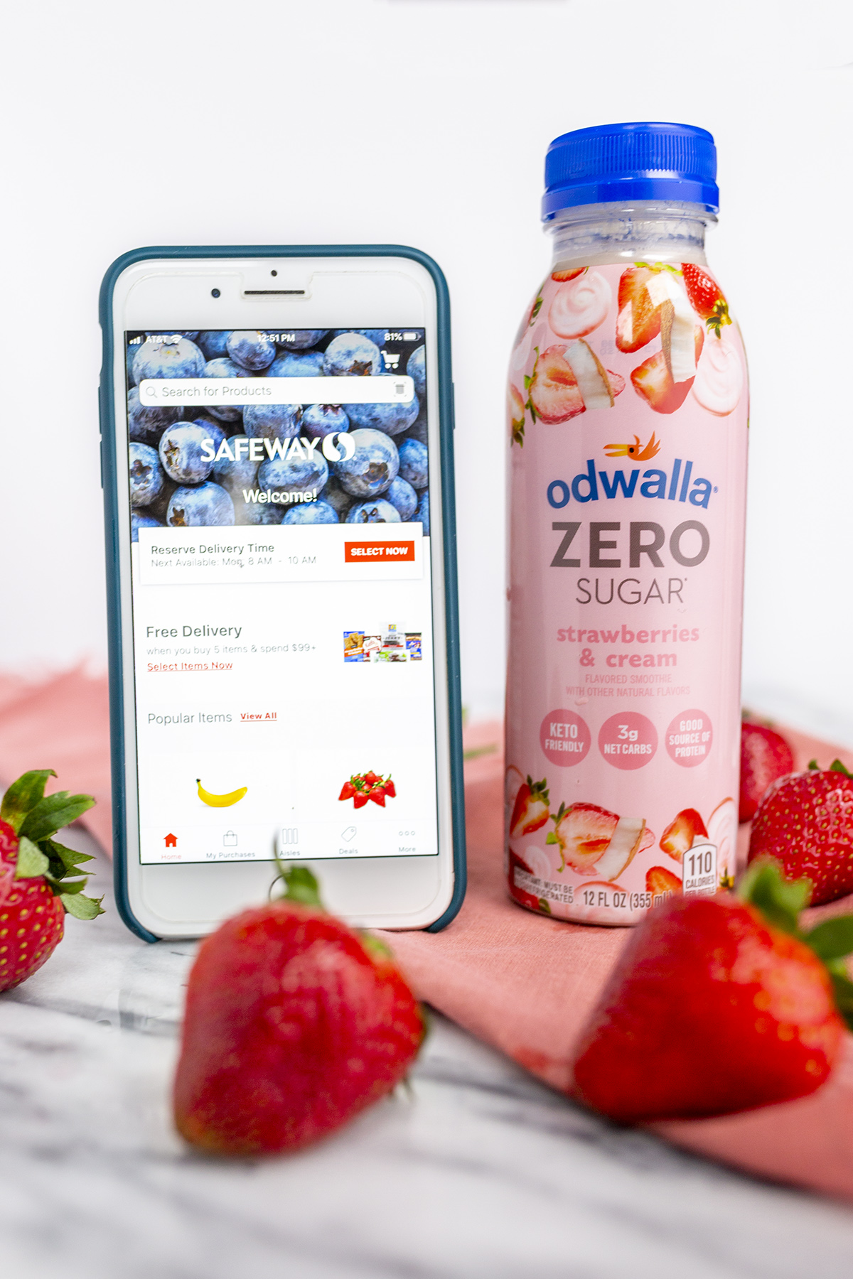 Odwalla Zero Sugar smoothie available at Safeway