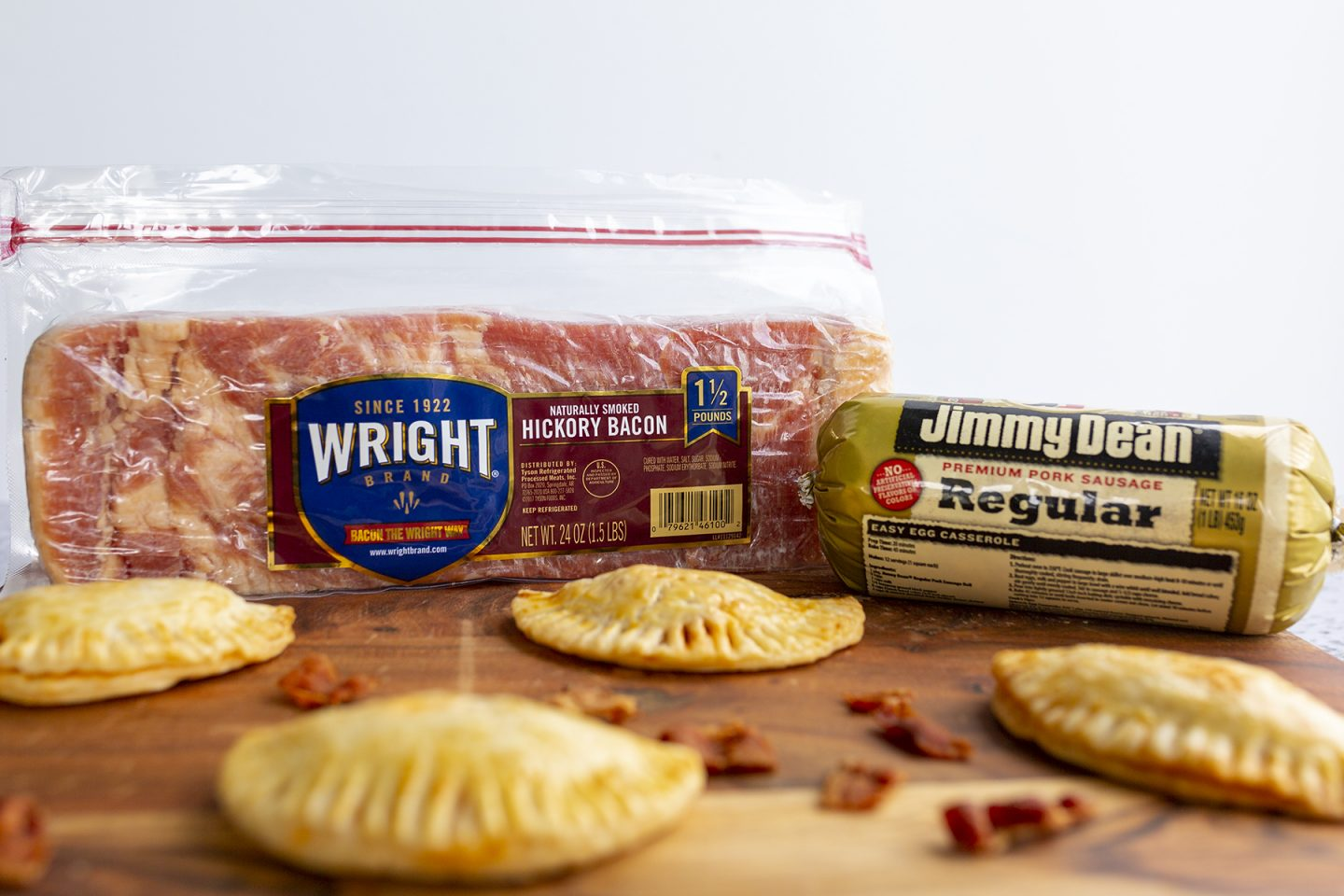 Baked meat pies made with Wright Bacon and Jimmy Dean Sausage