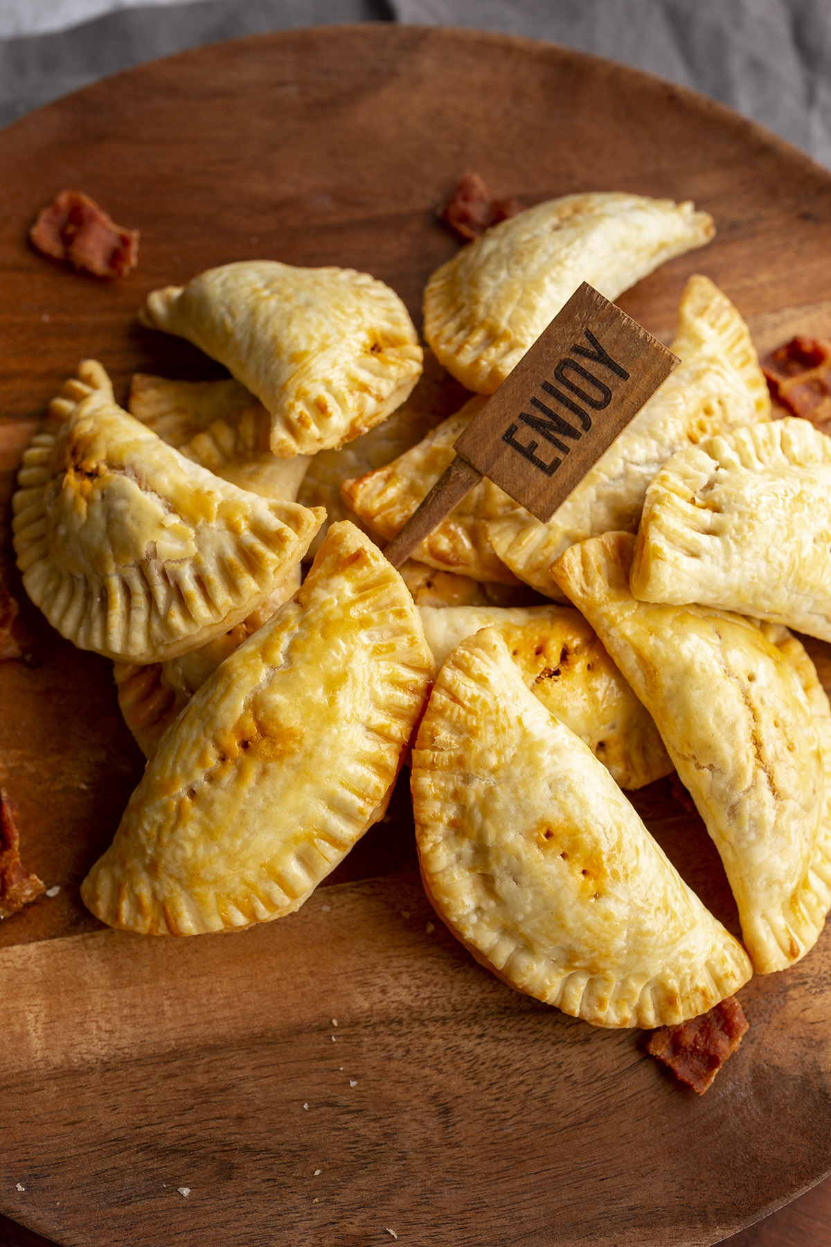 Meat hand pies made with sausage and bacon. Delicious recipe!