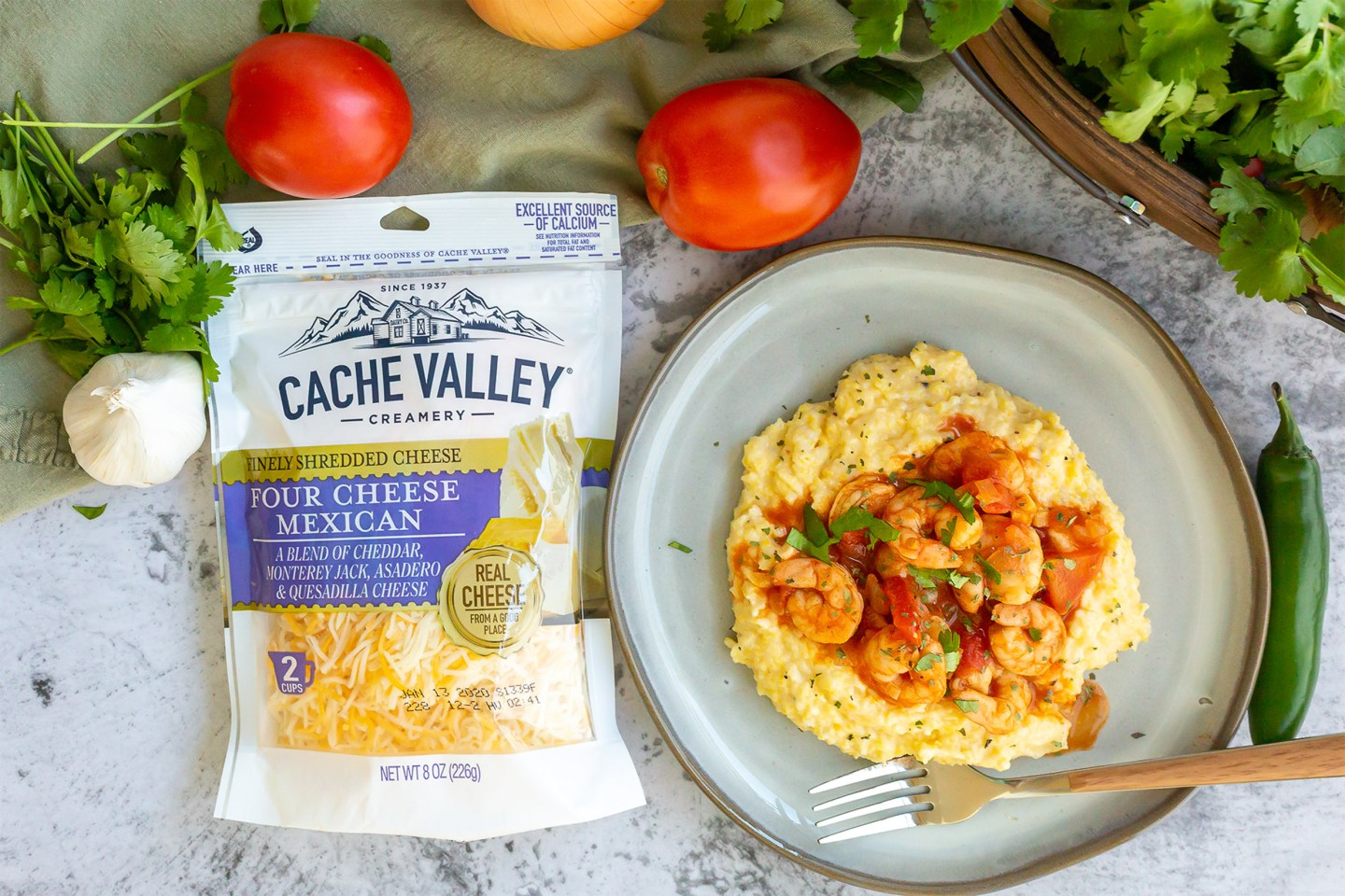Cache Valley Four Mexican Cheese and Creamy Polenta with Shrimp dinner