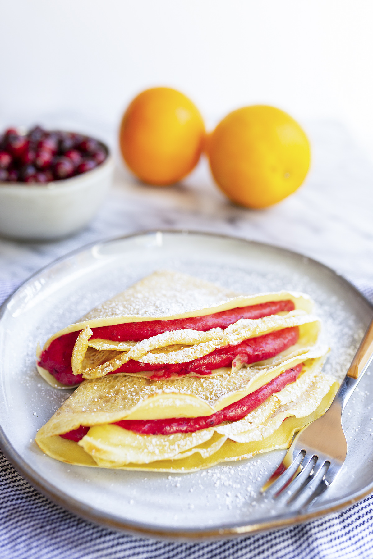 How to make French Crepes filled with sweet Cranberry, Orange and Mascarpone.