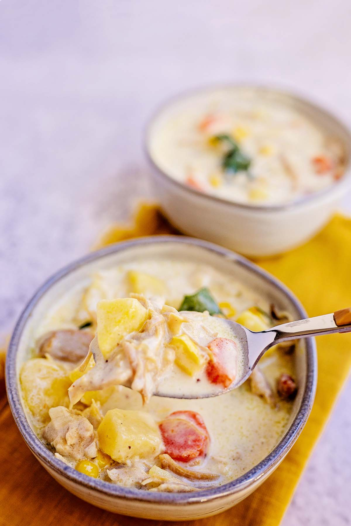 This creamy turkey chowder with corn and bacon is the best turkey recipe for turning those leftovers into a delicious creamy soup!