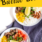 A Homemade burrito bowl featuring tomatoes, carne asada, corn, rice, pinto beans, cheese, onions, cilantro and white rice. Topped with an edge of lime.