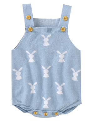 Baby Blue Bunny Easter Romper