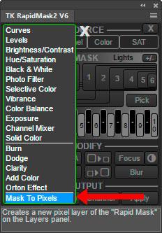 Mask To Pixels menu option