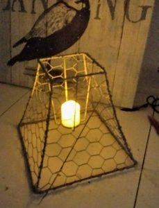 Finished Chicken wire votive holder