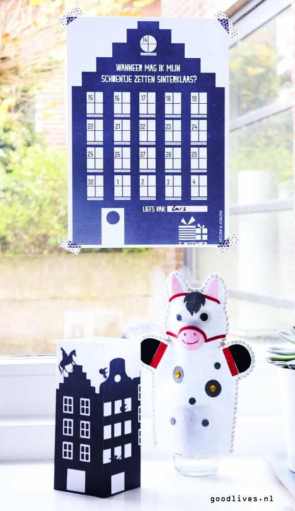 Shoe set calendar with tea light and horse