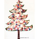 Alternative Christmas tree on canvas with real christmas decorations