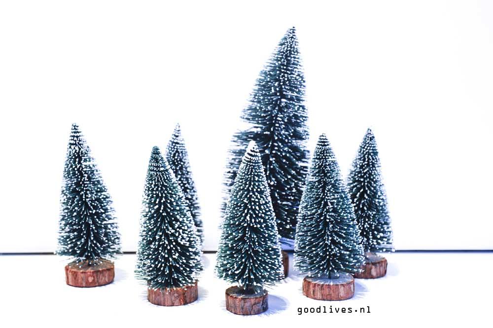 De bomen voor de DIY kerstauto