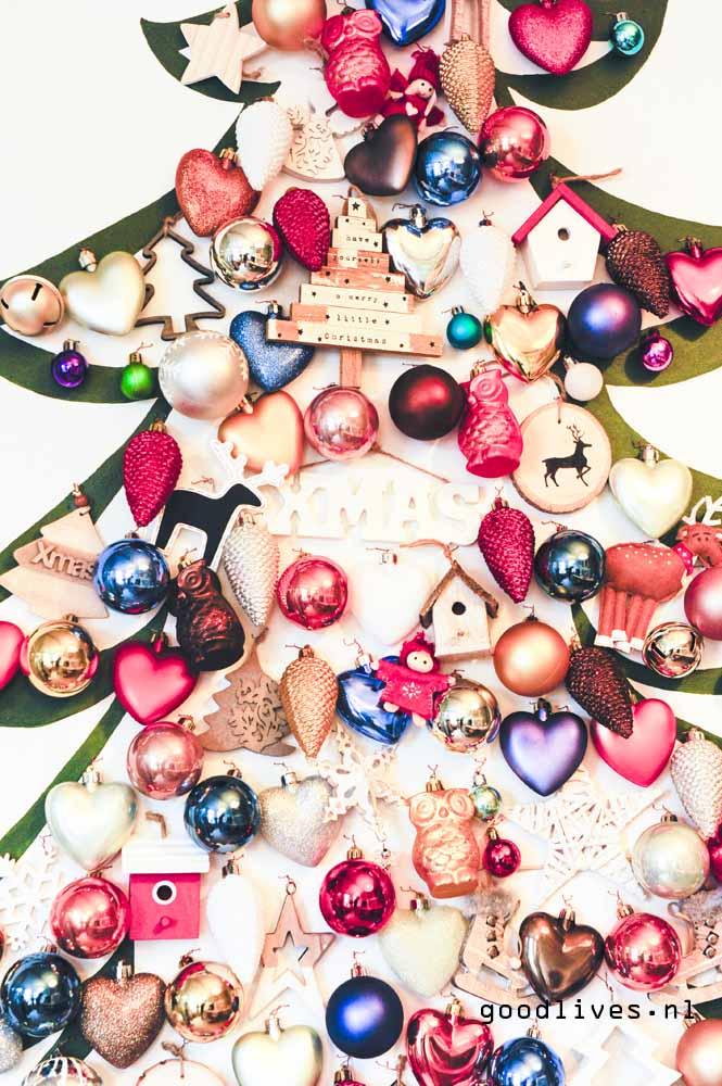 Close-up alternative Christmas tree on canvas DIY on Goodlives.nl