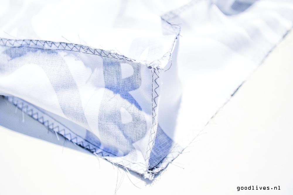DIY dog cushion stitched corner inside on Goodlives.nl