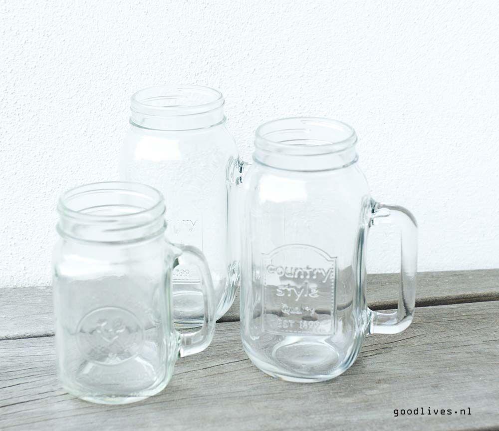 Mason jars without paint, DIY on Goodlives.nl