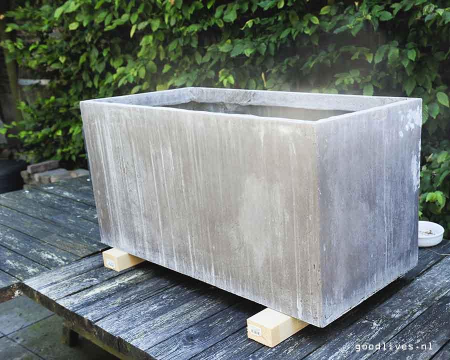 Close-up of fiber clay planter, Goodlives.nl