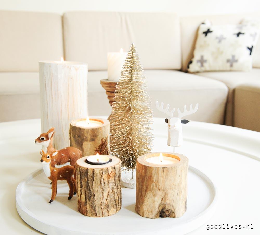 Kerst 2016 met hertjes en hout