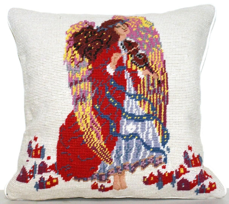 18 x 18 Handmade Wool Needlepoint Rooster Pillow