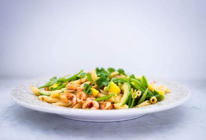 pastasalat med chilimarinerte reker-2