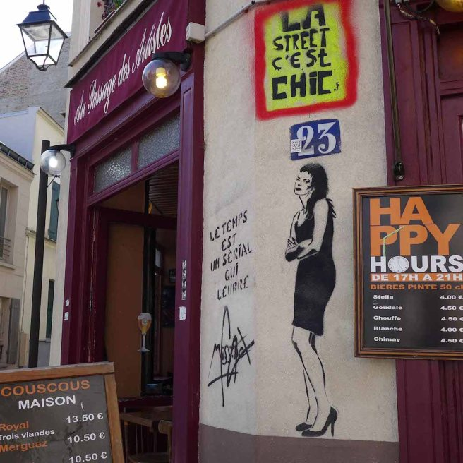 Restaurant and MissTic painting - La Butte aux Cailles