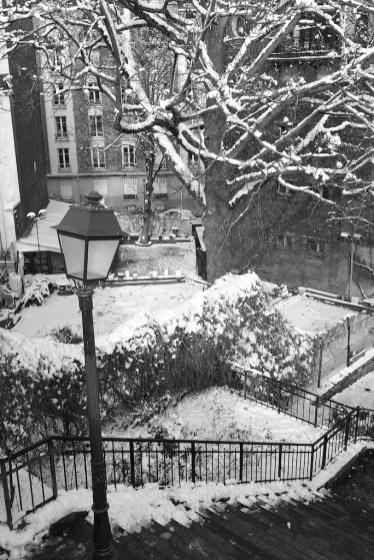 Stairs in Montmartre under snow