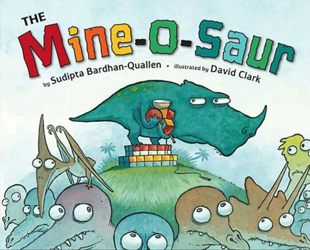 The Mine-O-Saur children's book that teaches values, such as generosity.