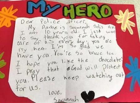 10 Year Old Girl Thanks Police Officers With 200 Hand Made
