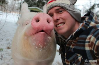Esther the Pig with owner-FBphoto-326px