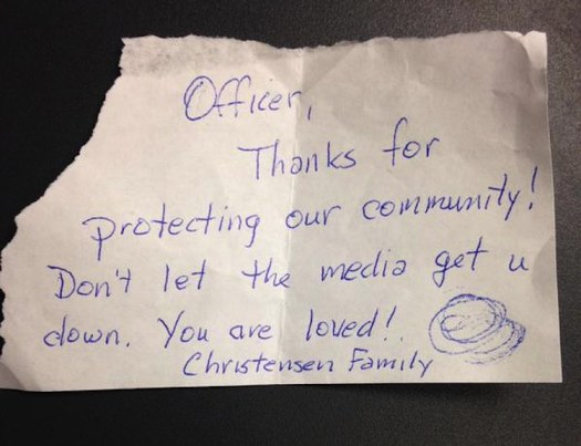 note posted to Cottonwood Heights Police Department TwitterFeed