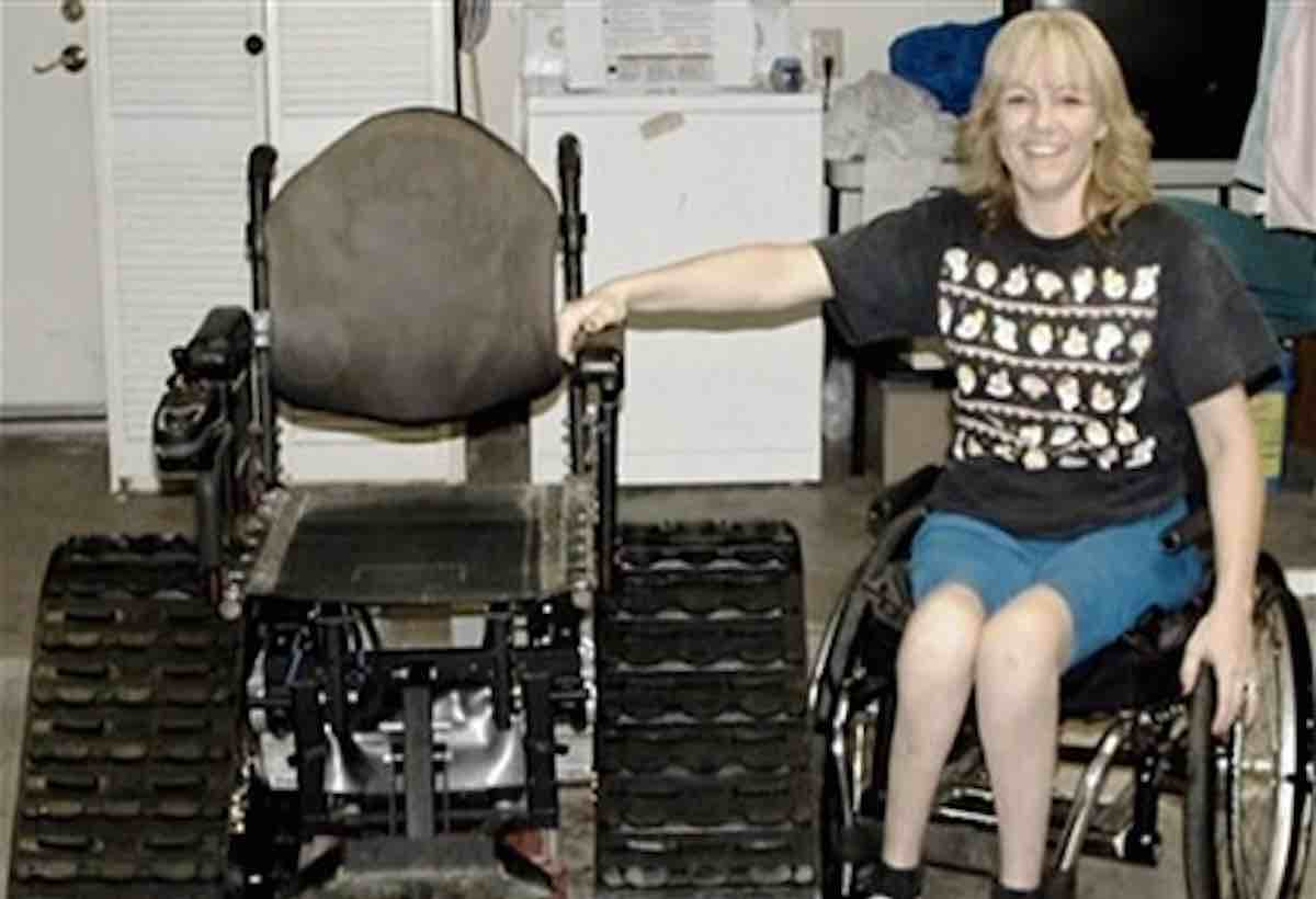 tank chair wheelchair hanging nest devoted husband designs for wife so she won t miss out on family activities