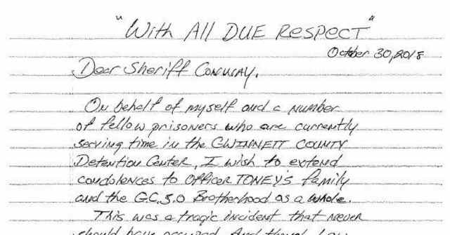 Inmates Write Heartfelt Letter to Police Department Offering
