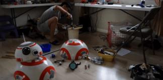 Angelo Casimiro working on his DIY BB-8
