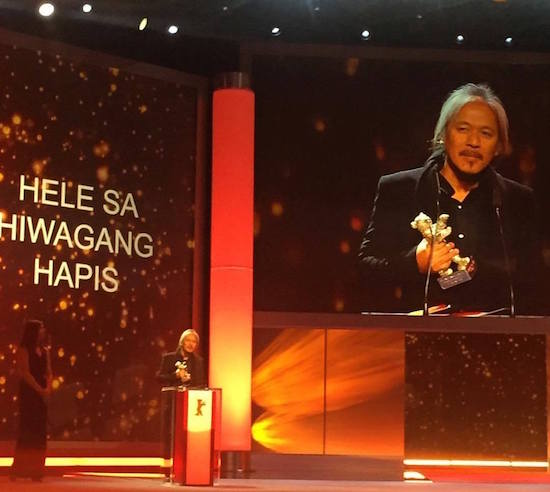 Lav Diaz receives the Silver Bear Alfred Bauer Prize for Hele sa Hiwagang Hapis