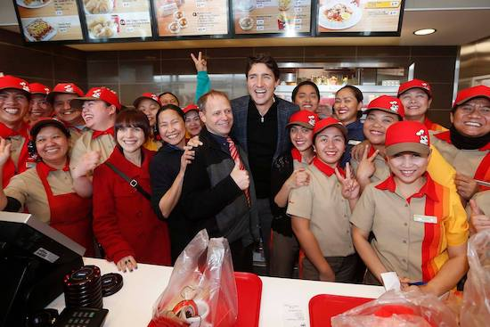 Prime Minister Justin Trudeau visits the new Jollibee outlet in Ellice, Winnipeg