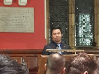 Manny Pacquiao in fighting form at Oxford Union talk