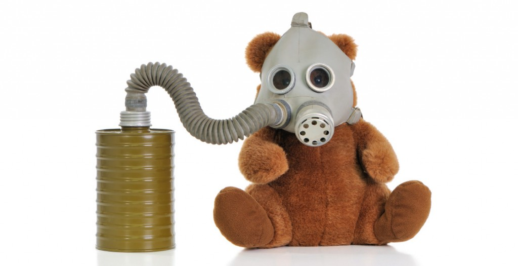 environmental toxins and pets - teddy bear wearing gas mask