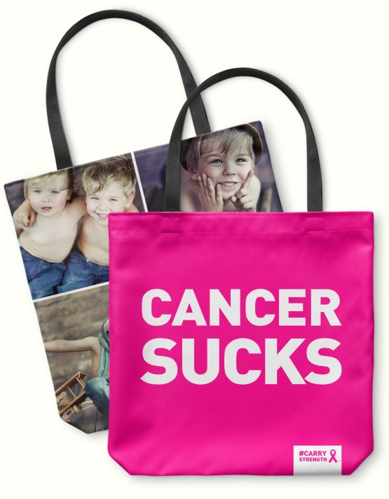 cancer sucks pink photo tote bag