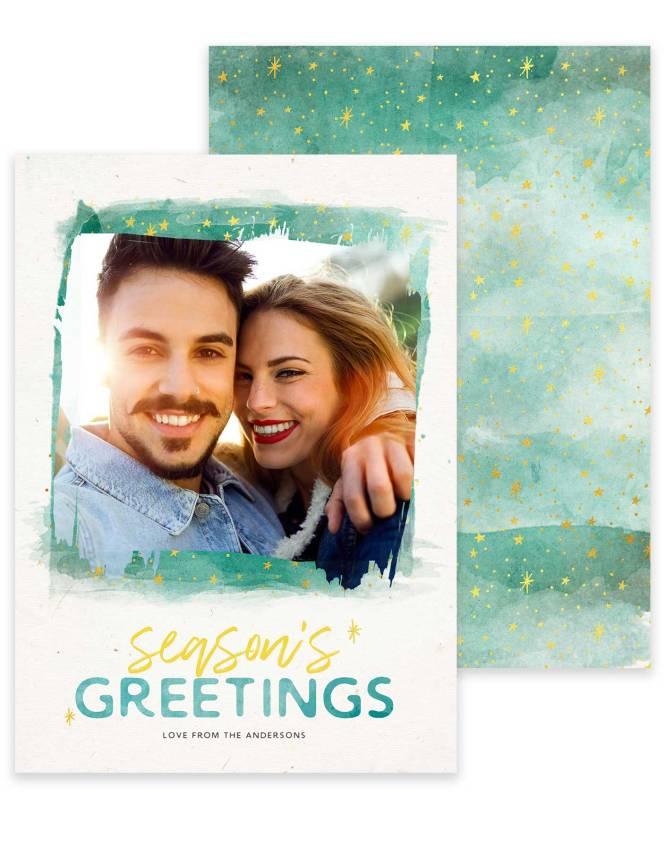 seasons greetings double sided greeting card