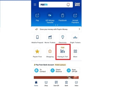Recharging Fast Tag using PayTM