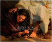 mary washing jesus' feet with
