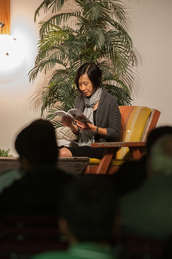 Chantal Chen doing a reading.
