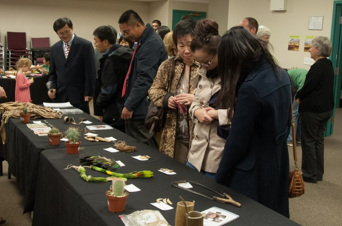 Crowd viewing the artifacts.