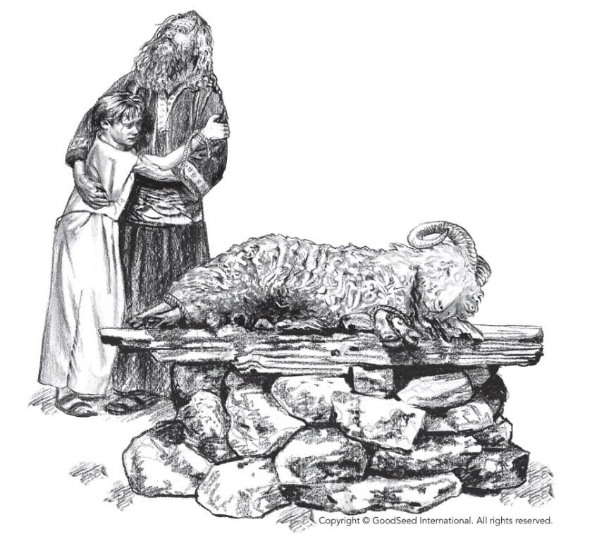Abraham and Isaac at the altar.
