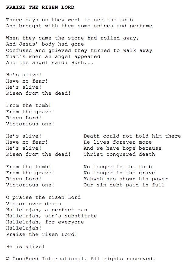 Praise the Risen Lord lyrics