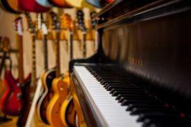 The studio has 40 guitars, as well as a Yamaha grand piano.